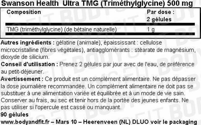 Ultra TMG (Trimethylglycine) 500mg Nutritional Information 1