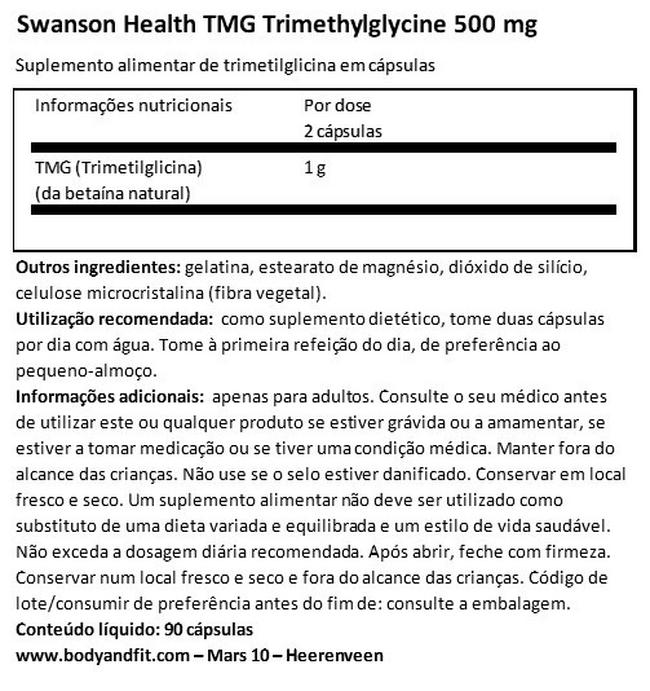 Ultra TMG (Trimethylglycine) 500mg Nutritional Information 1