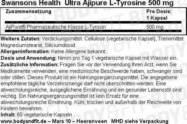 Ultra Ajipure L-Tyrosine 500 mg Nutritional Information 1