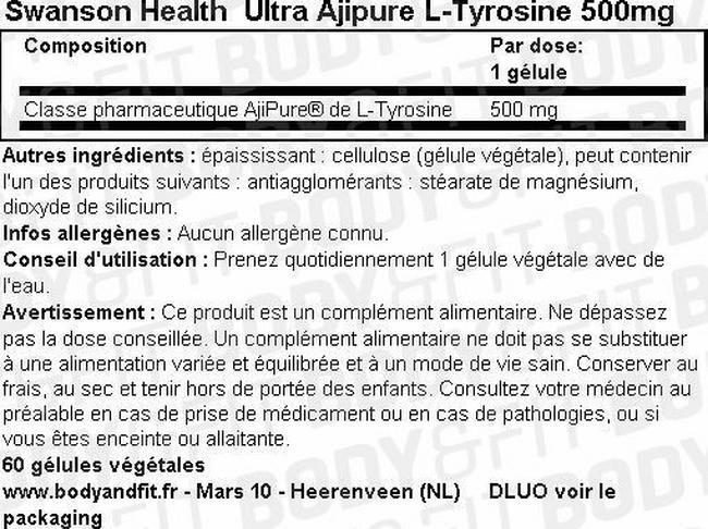 Ultra Ajipure L-Tyrosine 500mg Nutritional Information 1