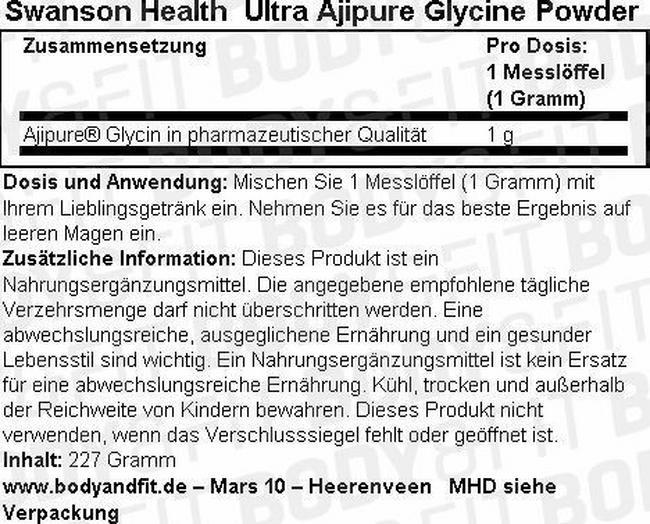 Ultra Ajipure Glycine Powder Nutritional Information 1