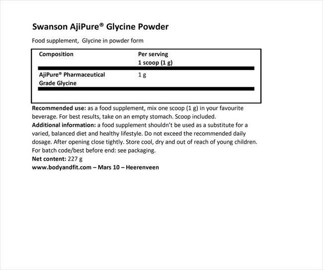 ウルトラ アジピュア グリシンパウダー Nutritional Information 1