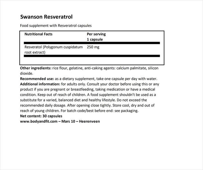 Ultra Resveratrol 250 (250mg) Nutritional Information 1
