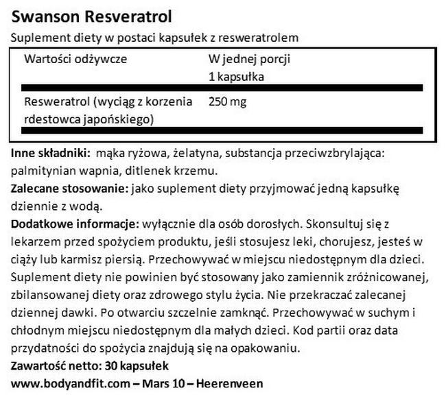 Ultra Resveratrol 250 (250 mg) Nutritional Information 1