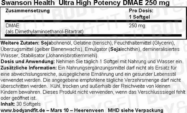 Ultra High Potency DMAE 250 mg Nutritional Information 1