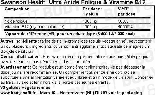 Ultra Acide folique & Vitamine B-12 Nutritional Information 1