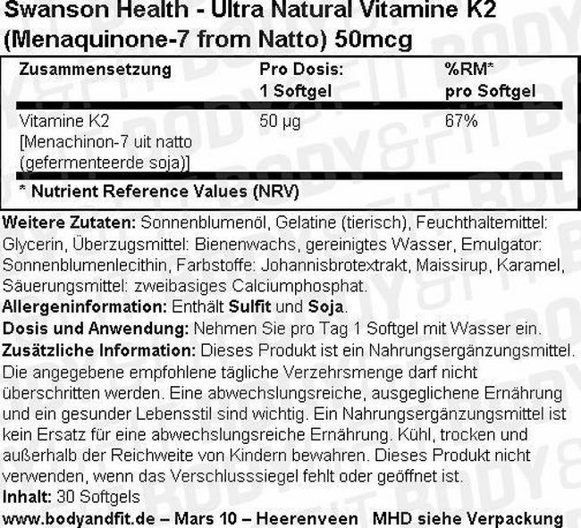 Ultra Natural Vitamine K2 (Menaquinone-7 from Natto) 50 mcg Nutritional Information 1