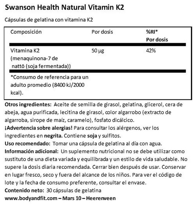 Ultra Natural Vitamin K2 (Menaquinone-7 de Natto) 50 µg Nutritional Information 1