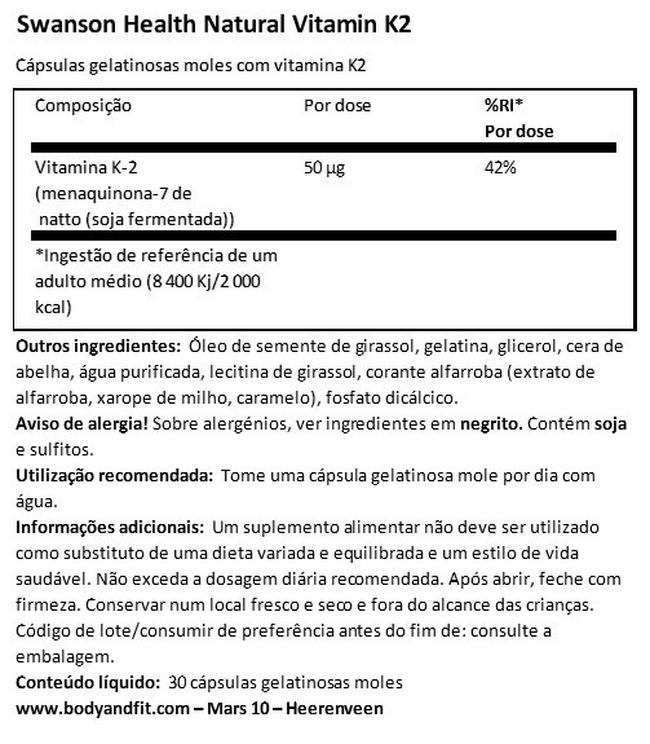 Ultra Natural Vitamin K2 (Menaquinone-7 from Natto) 50mcg | Body & Fit Nutritional Information 1