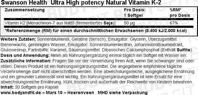 Ultra High Potency Natural Vitamin K2 Nutritional Information 1