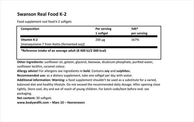 울트라 하이포텐시 내추럴 비타민 K2 Nutritional Information 1