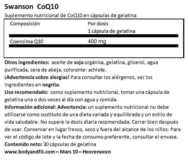 Ultra CoQ10 400 mg Nutritional Information 1