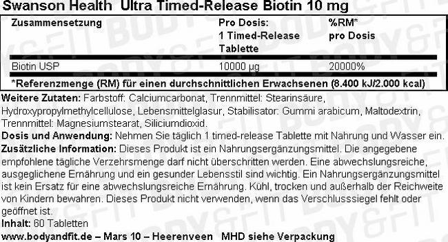 Ultra Timed-Release Biotin 10 mg Nutritional Information 1