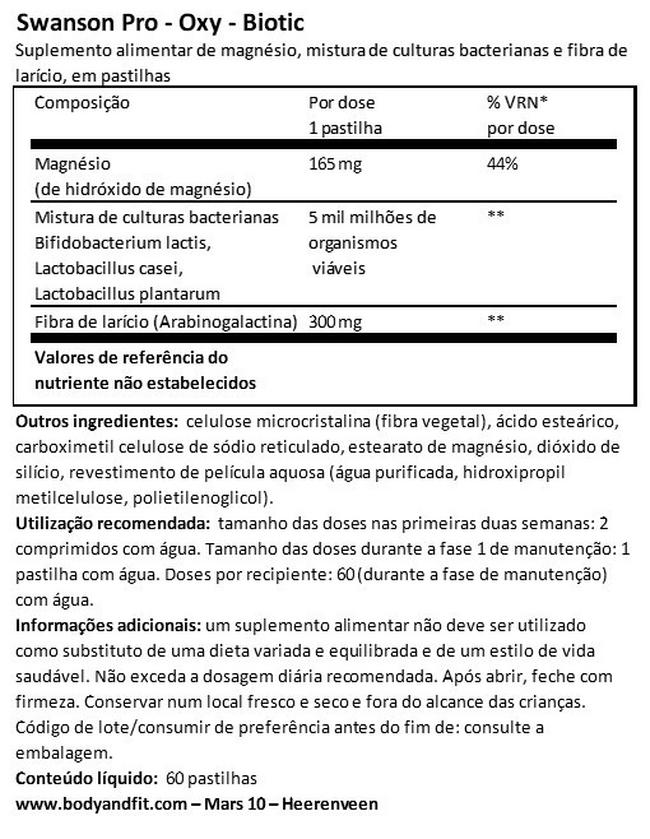 Pro-oxy-Biotic Nutritional Information 1