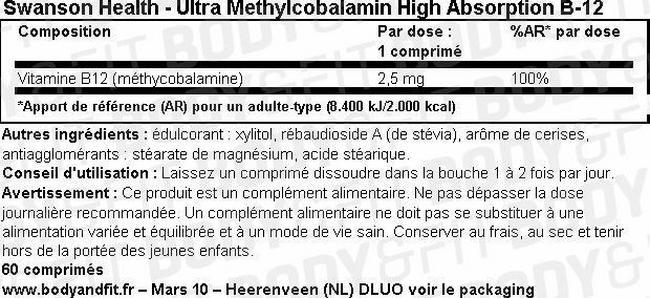 Ultra Methylcobalamin High Absorption B-12 Nutritional Information 2