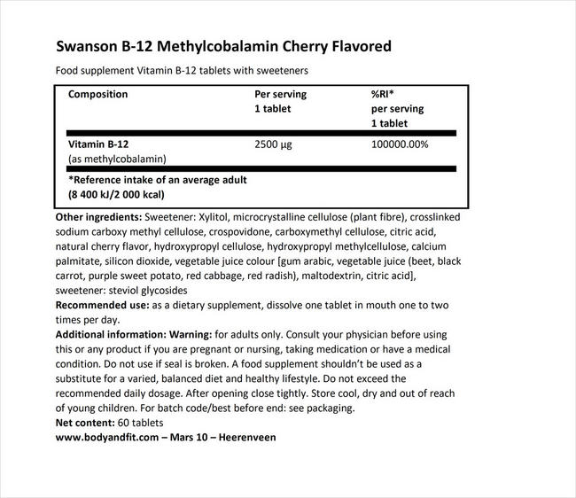 Ultra Methylcobalamin High Absorption B12 Nutritional Information 1