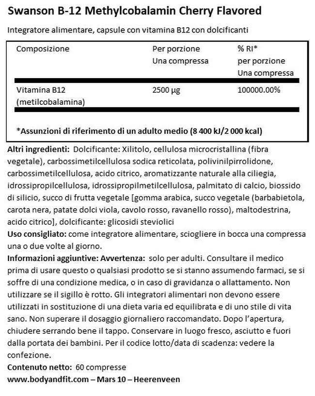 Ultra metilcobalamina High Absorption B12 Nutritional Information 1