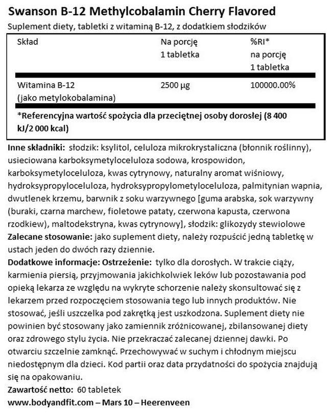 Ultra Methylcobalamin High Absorption B12 Nutritional Information 1