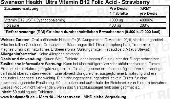 Ultra Vitamine B-12 W/Folic Acid Nutritional Information 1