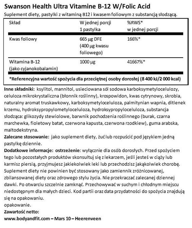 Ultra Vitamin B12 with Folic Acid Nutritional Information 1
