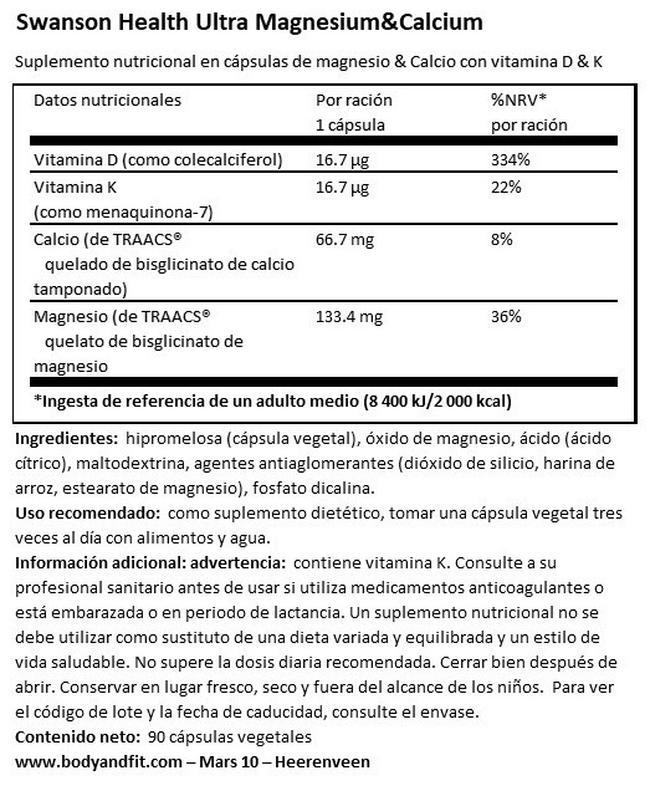 Ultra Albion Magnesium & Calcium Nutritional Information 1