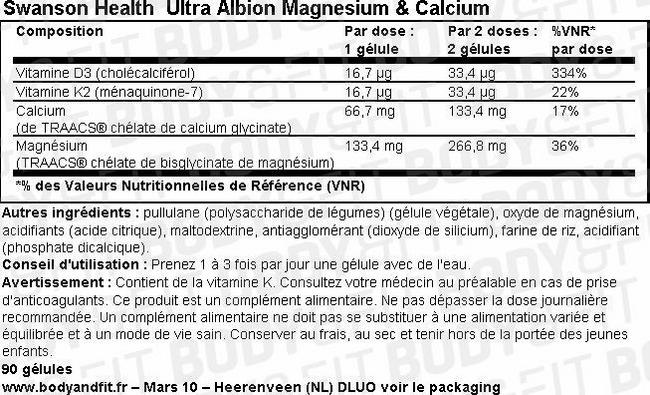 Gélules de magnésium et de calcium Ultra Albion Magnesium & Calcium Nutritional Information 1
