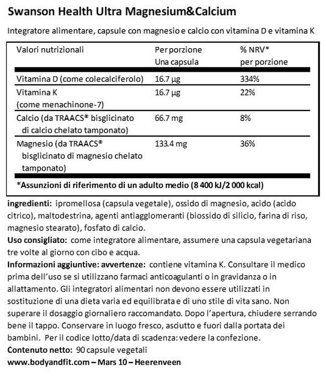 Ultra Albion Magnesio e Calcio Nutritional Information 1