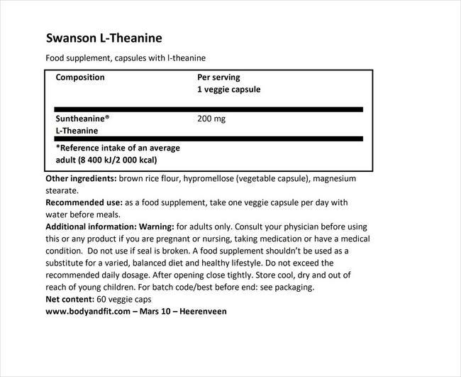 Ultra Double Suntheanine Nutritional Information 1