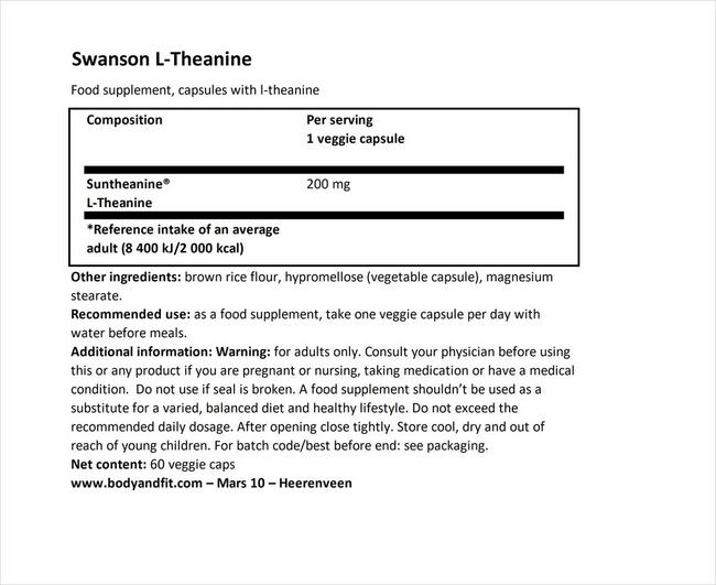 Ultra Double Theanine Nutritional Information 1