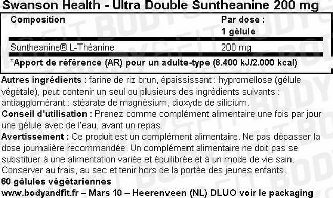Ultra Double Suntheanine 200mg Nutritional Information 1