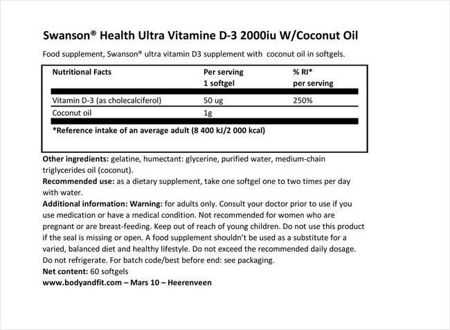 울트라 비타민 D-3 2000iu (코코넛오일 함유) Nutritional Information 1