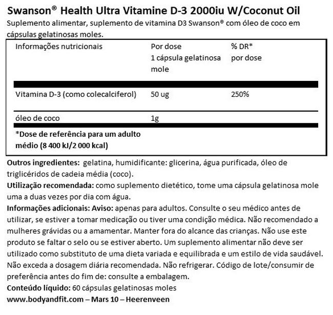 Ultra Vitamin D-3 2000iu with Coconut Oil Nutritional Information 1