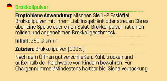 Pure Brokkolipulver Nutritional Information 1