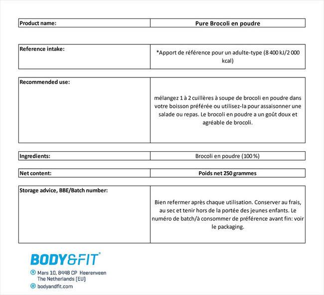 Pure Brocoli en poudre Nutritional Information 1