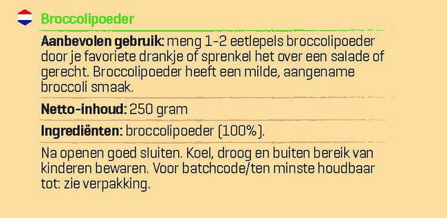 Pure Broccoli Poeder Nutritional Information 1