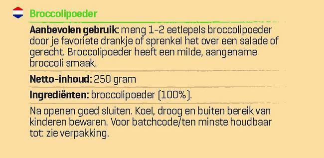 Pure Broccoli Poeder Nutritional Information 1