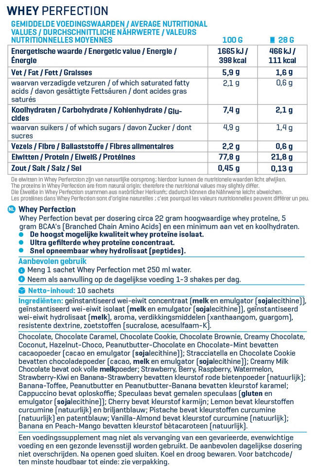 Whey Perfection Winter Box Nutritional Information 1