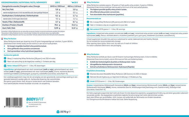 Whey Perfection Winter Box Nutritional Information 2