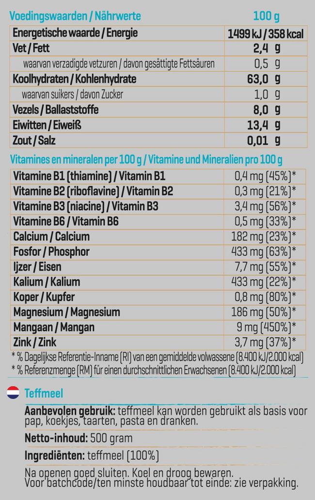 Pure Teff meel Nutritional Information 1