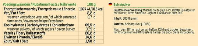 Pure Spinatpulver Nutritional Information 1