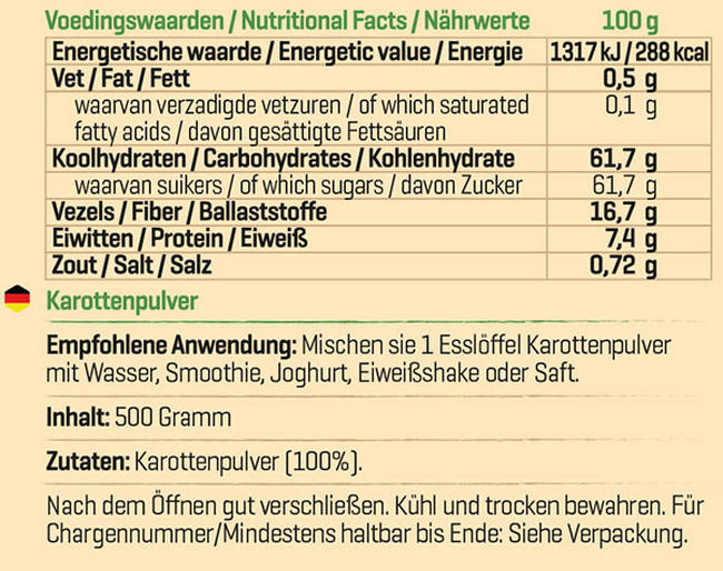 Pure Karottenpulver Nutritional Information 1