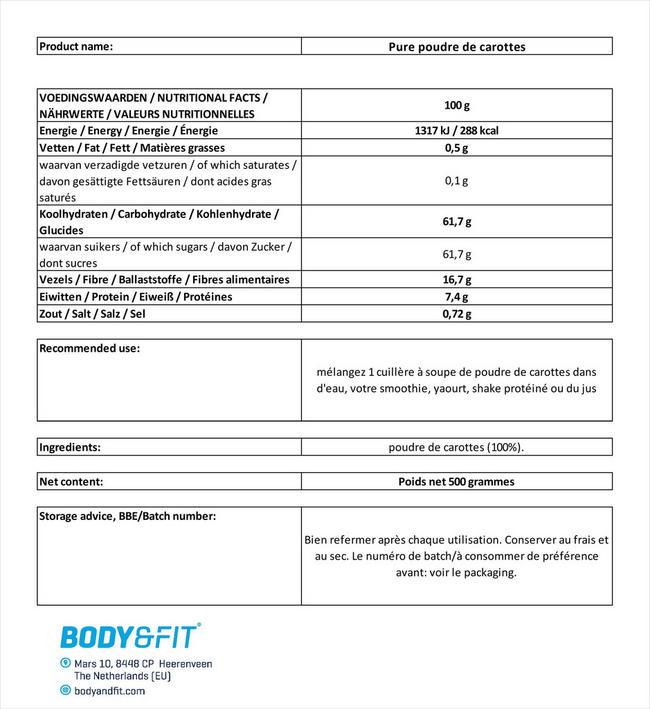 Pure poudre de carottes Nutritional Information 1