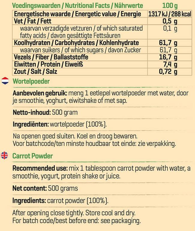 Pure Wortelpoeder Nutritional Information 1