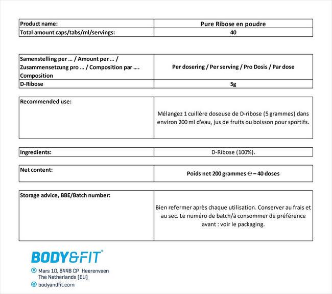 Pure Ribose en poudre Nutritional Information 1