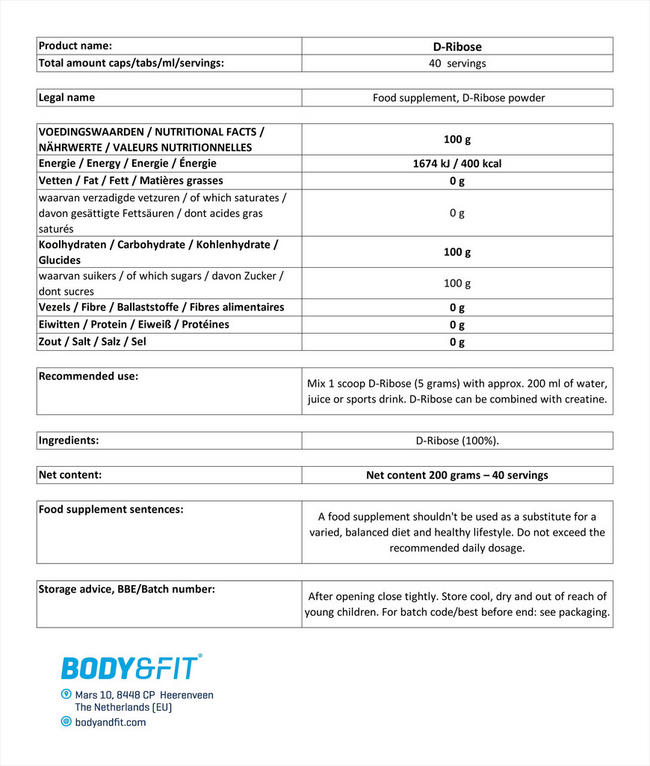D-Ribose Nutritional Information 1