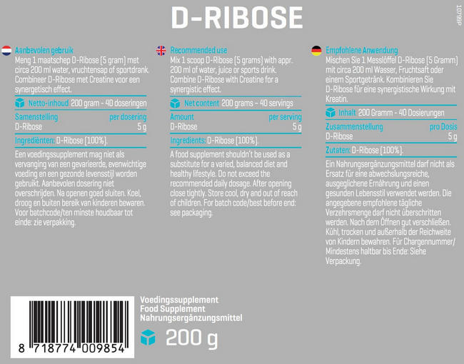 Pure Ribose Poeder Nutritional Information 1