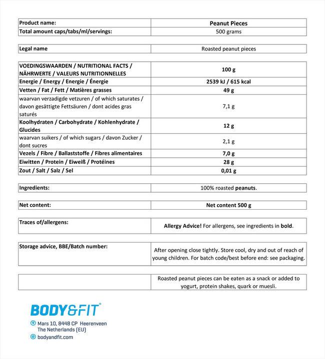 ピュア ピーナッツピース Nutritional Information 1