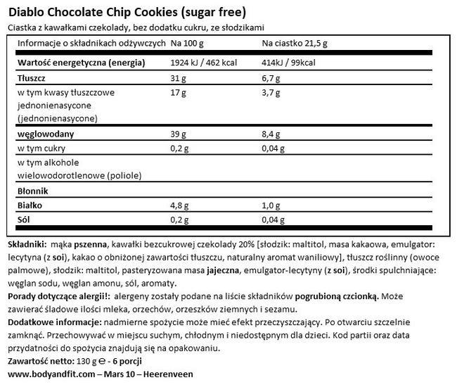 Ciasteczka z kawałkami czekolady (bez cukru) Nutritional Information 1