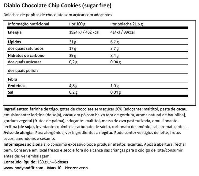 Chocolate Chip Cookies (sugar free) Nutritional Information 1