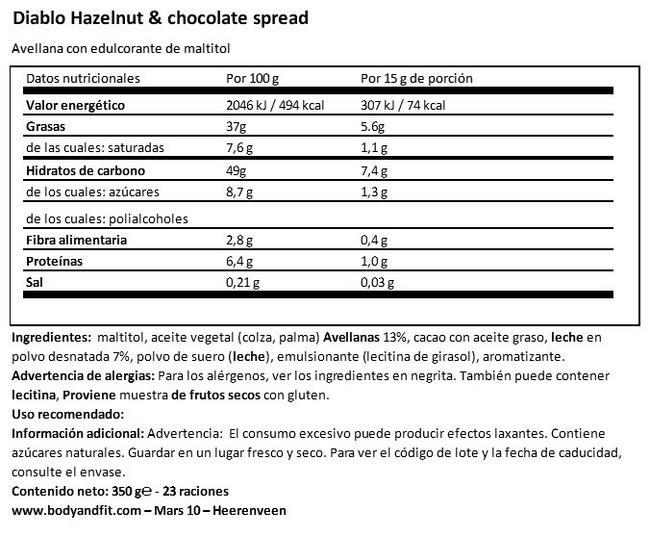 Crema Untable de Chocolate (Sin Azúcares añadidos) Nutritional Information 1